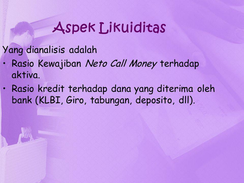 Aspek Likuiditas Yang dianalisis adalah Rasio Kewajiban Neto Call Money terhadap aktiva. Rasio kredit terhadap dana yang diterima oleh bank (KLBI, Gir