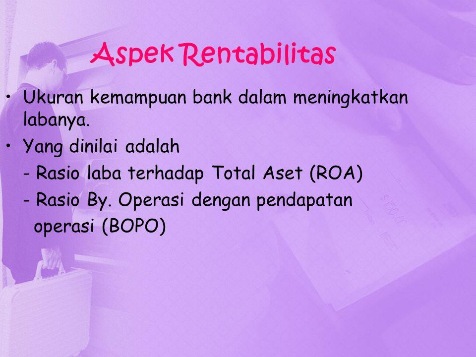 Aspek Rentabilitas Ukuran kemampuan bank dalam meningkatkan labanya. Yang dinilai adalah - Rasio laba terhadap Total Aset (ROA) - Rasio By. Operasi de