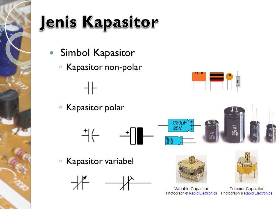 Simbol Kapasitor ◦ Kapasitor non-polar ◦ Kapasitor polar ◦ Kapasitor variabel +