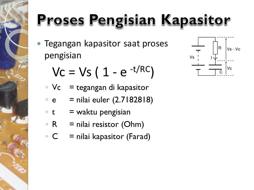 Tegangan kapasitor saat proses pengisian Vc = Vs ( 1 - e -t/RC ) ◦ Vc = tegangan di kapasitor ◦ e= nilai euler (2.7182818) ◦ t= waktu pengisian ◦ R= n