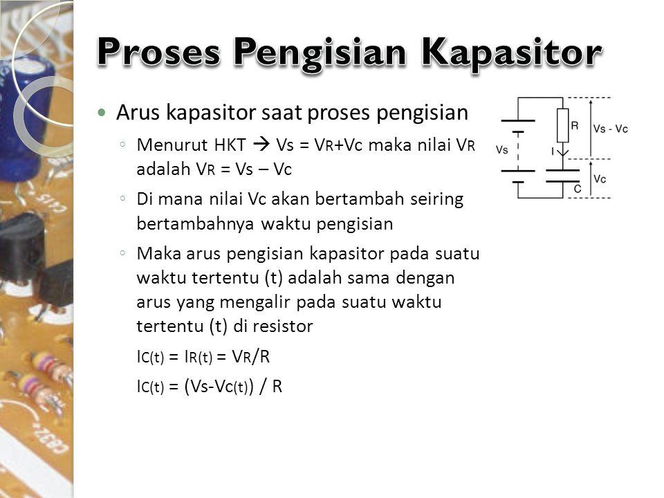 Arus kapasitor saat proses pengisian ◦ Menurut HKT  Vs = V R +Vc maka nilai V R adalah V R = Vs – Vc ◦ Di mana nilai Vc akan bertambah seiring bertam
