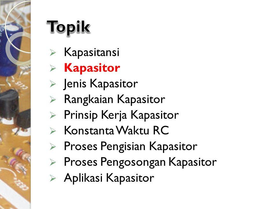  Kapasitansi  Kapasitor  Jenis Kapasitor  Rangkaian Kapasitor  Prinsip Kerja Kapasitor  Konstanta Waktu RC  Proses Pengisian Kapasitor  Proses
