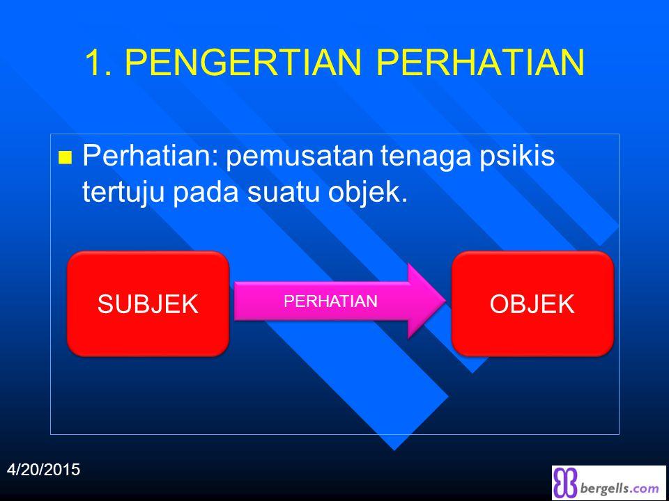 1. PENGERTIAN PERHATIAN n Perhatian: pemusatan tenaga psikis tertuju pada suatu objek.