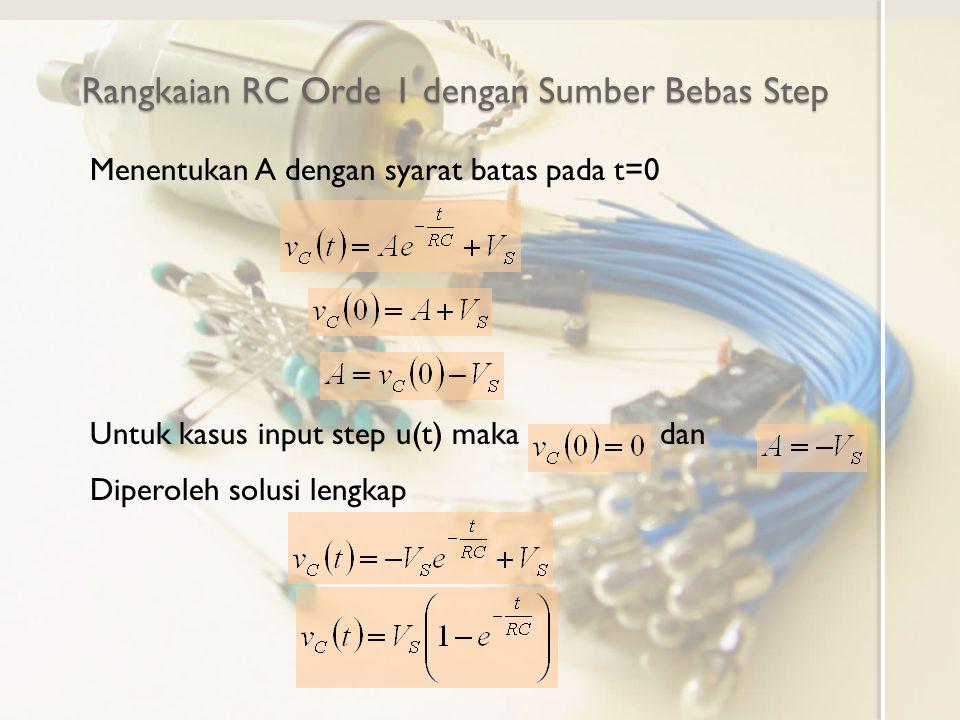 Rangkaian RC Orde 1 dengan Sumber Bebas Step Menentukan A dengan syarat batas pada t=0 Untuk kasus input step u(t) maka dan Diperoleh solusi lengkap