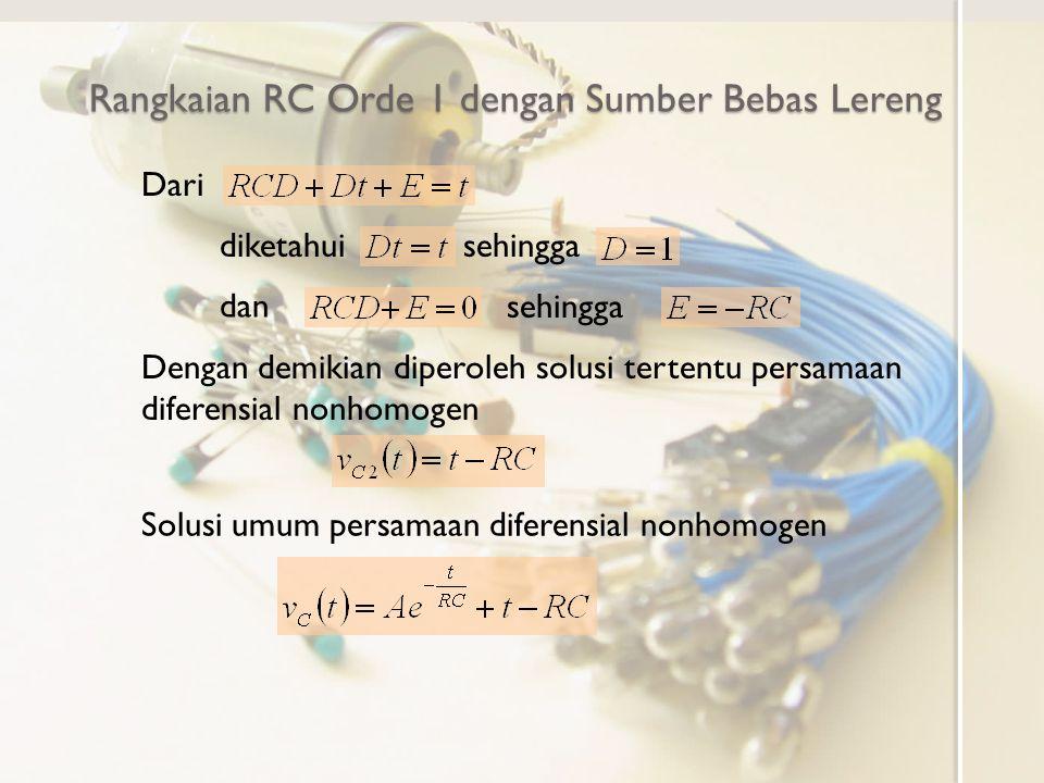 Rangkaian RC Orde 1 dengan Sumber Bebas Lereng Dari diketahuisehingga dan sehingga Dengan demikian diperoleh solusi tertentu persamaan diferensial non
