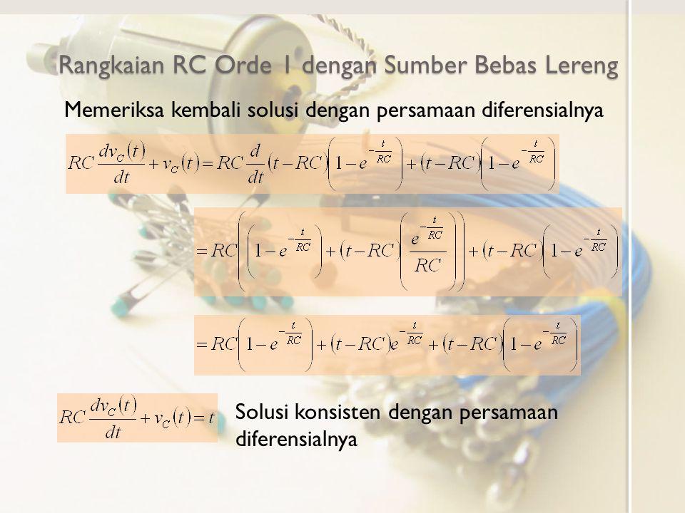 Rangkaian RC Orde 1 dengan Sumber Bebas Lereng Memeriksa kembali solusi dengan persamaan diferensialnya Solusi konsisten dengan persamaan diferensialn