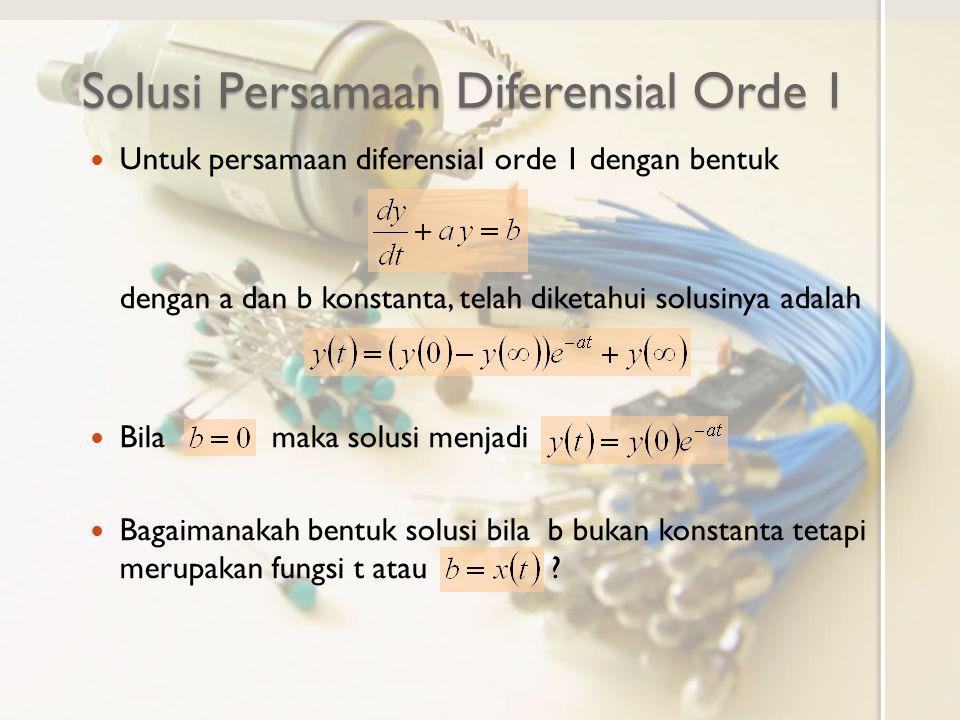 Solusi Persamaan Diferensial Orde 1 Bentuk umum persamaan diferensial orde 1 Bila adalah solusi dari (persamaan homogen) dan adalah solusi tertentu untuk (persamaan nonhomogen) maka juga solusi untuk
