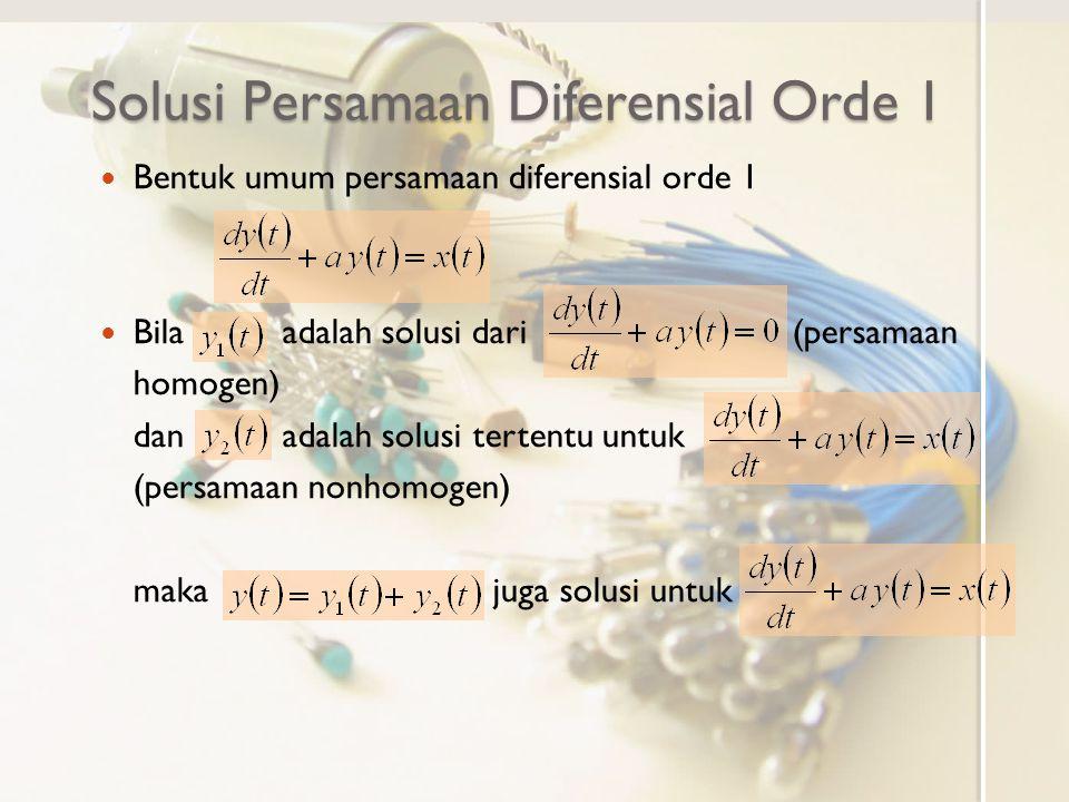 Rangkaian RC Orde 1 dengan Sumber Bebas Lereng Dari diketahuisehingga dan sehingga Dengan demikian diperoleh solusi tertentu persamaan diferensial nonhomogen Solusi umum persamaan diferensial nonhomogen