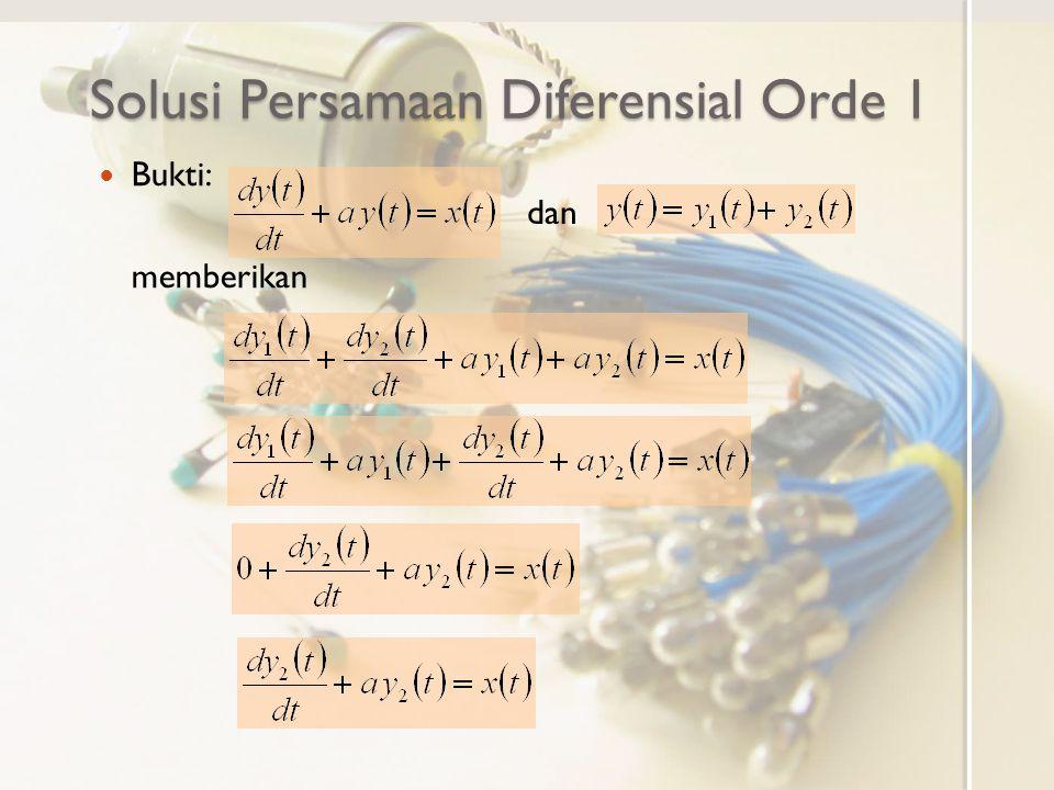 Solusi Persamaan Diferensial Orde 1 Bukti: memberikan dan