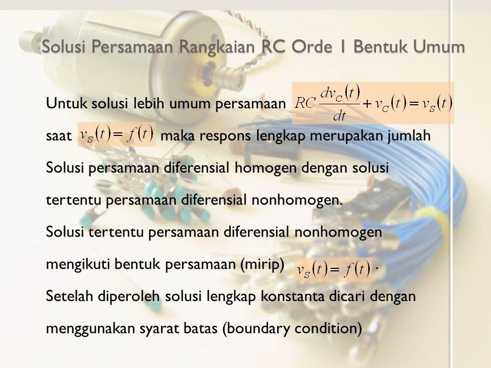Rangkaian RC Orde 1 dengan Sumber Bebas Lereng Memeriksa kembali solusi dengan persamaan diferensialnya Solusi konsisten dengan persamaan diferensialnya
