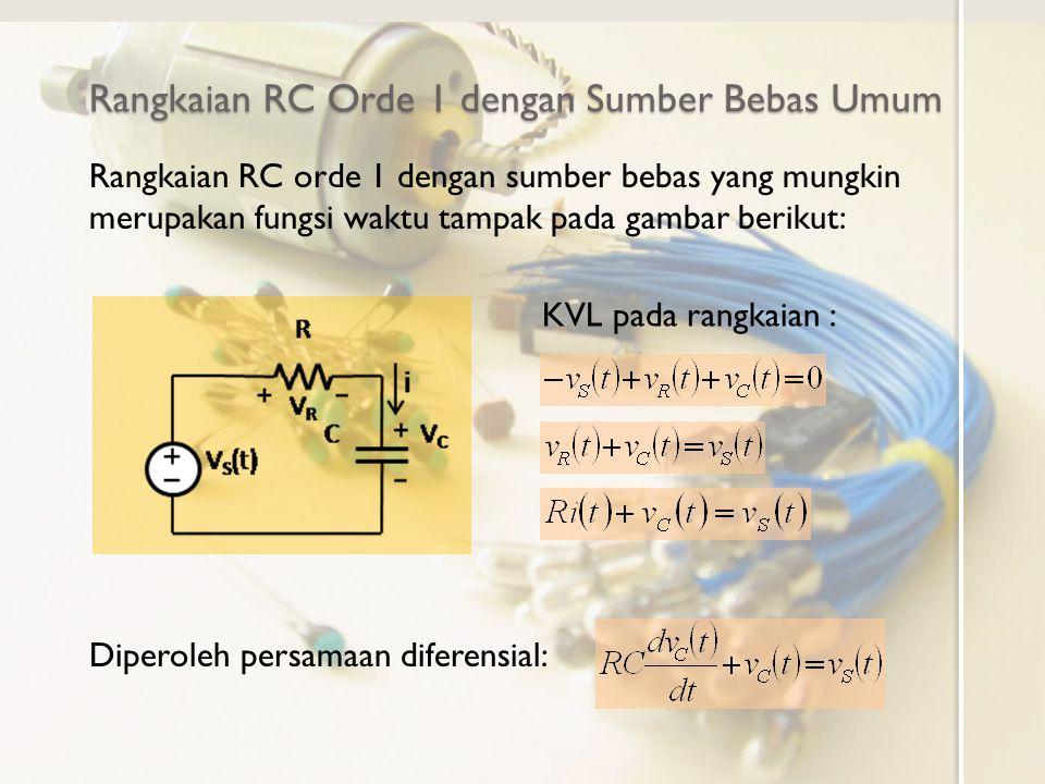 Rangkaian RC Orde 1 tanpa Sumber Bebas Bentuk umum persamaan diferensial 1.Saat v S (t)=0, persamaan menjadi Rangkaian orde 1 tanpa sumber Solusi persamaan diferensial homogen