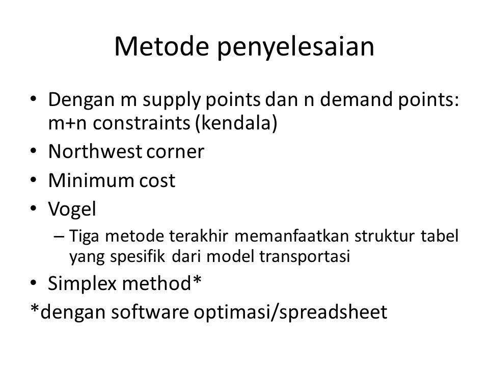 Metode penyelesaian Dengan m supply points dan n demand points: m+n constraints (kendala) Northwest corner Minimum cost Vogel – Tiga metode terakhir memanfaatkan struktur tabel yang spesifik dari model transportasi Simplex method* *dengan software optimasi/spreadsheet