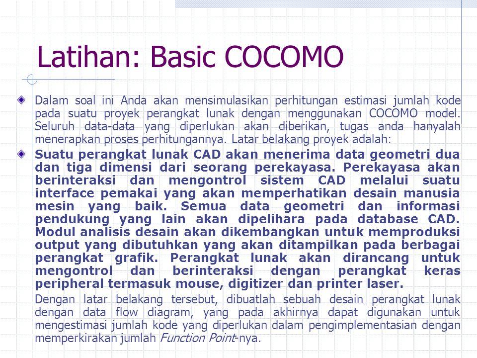 Latihan: Basic COCOMO Dalam soal ini Anda akan mensimulasikan perhitungan estimasi jumlah kode pada suatu proyek perangkat lunak dengan menggunakan CO