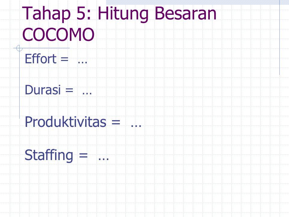 Tahap 5: Hitung Besaran COCOMO Effort = … Durasi = … Produktivitas = … Staffing = …