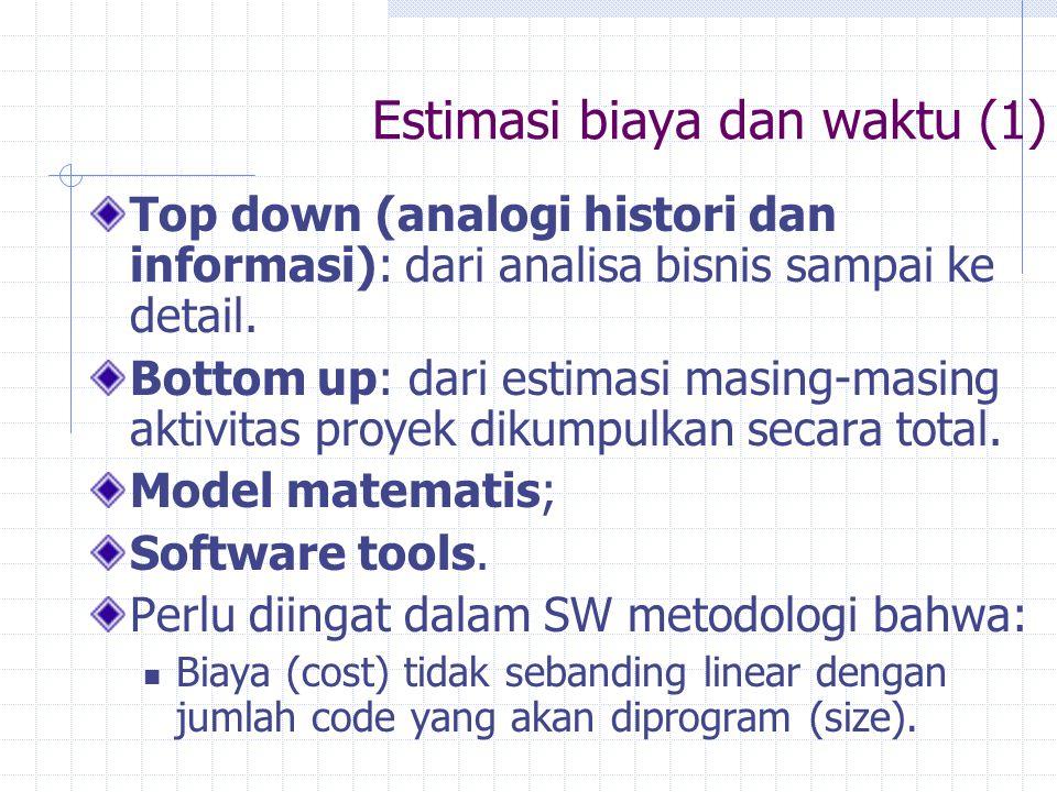 Estimasi biaya dan waktu (1) Top down (analogi histori dan informasi): dari analisa bisnis sampai ke detail. Bottom up: dari estimasi masing-masing ak