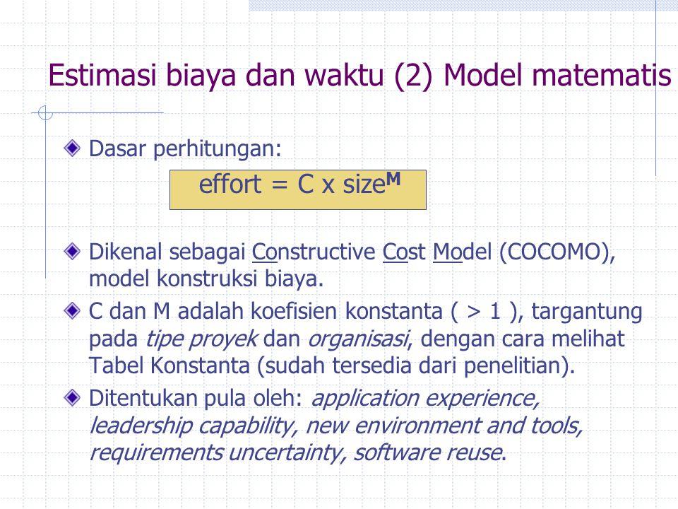 Dasar perhitungan: effort = C x size M Dikenal sebagai Constructive Cost Model (COCOMO), model konstruksi biaya. C dan M adalah koefisien konstanta (
