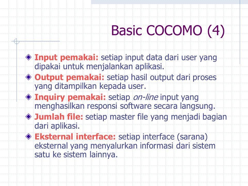 Basic COCOMO (4) Input pemakai: setiap input data dari user yang dipakai untuk menjalankan aplikasi. Output pemakai: setiap hasil output dari proses y