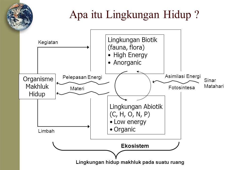Apa itu Lingkungan Hidup ? Organisme Makhluk Hidup Lingkungan Biotik (fauna, flora) High Energy Anorganic Lingkungan Abiotik (C, H, O, N, P) Low energ