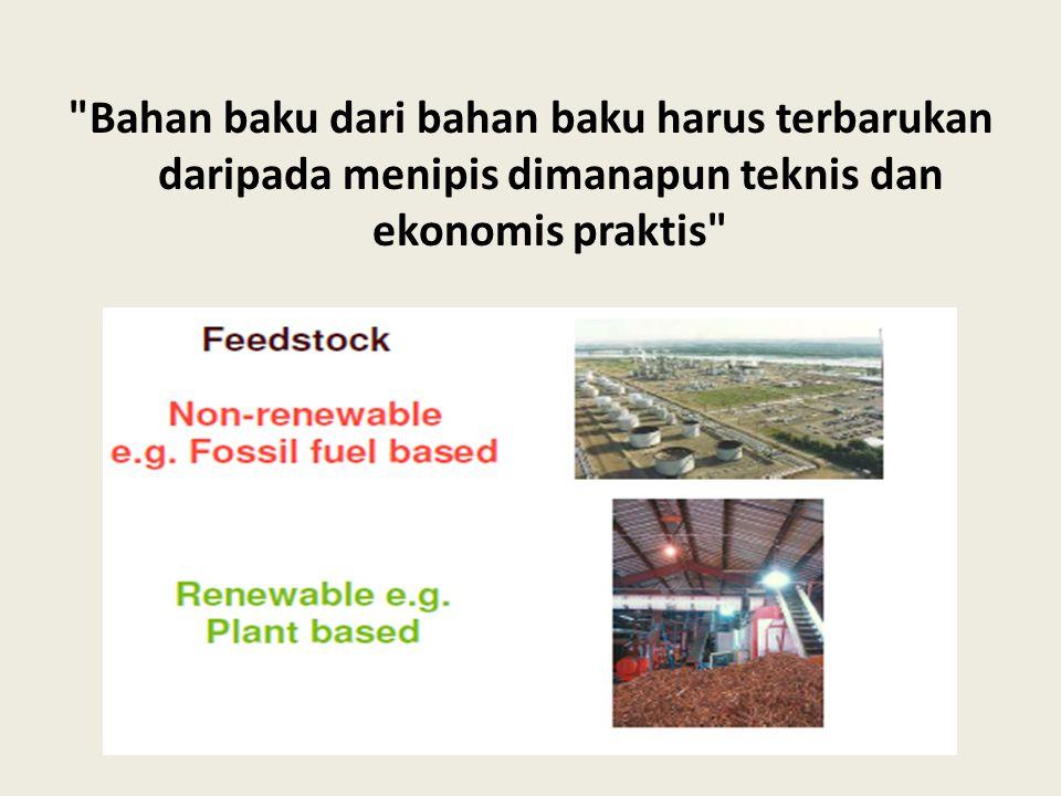 Bahan baku dari bahan baku harus terbarukan daripada menipis dimanapun teknis dan ekonomis praktis
