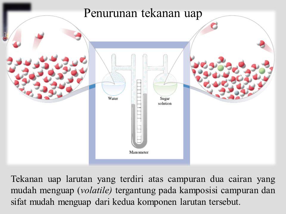 Tekanan uap larutan yang terdiri atas campuran dua cairan yang mudah menguap (volatile) tergantung pada kamposisi campuran dan sifat mudah menguap dari kedua komponen larutan tersebut.