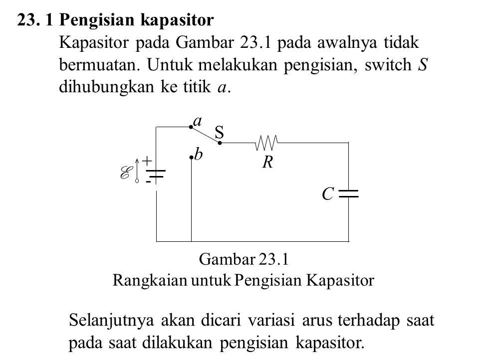 Dengan menerapkan Hukum Kirchhoff 2 pada Gambar 23.1 didapat E atau E (23.1) E adalah emf baterai iR adalah beda potensial pada resistor q/C adalah beda potensial antara dua plat kapasitor.