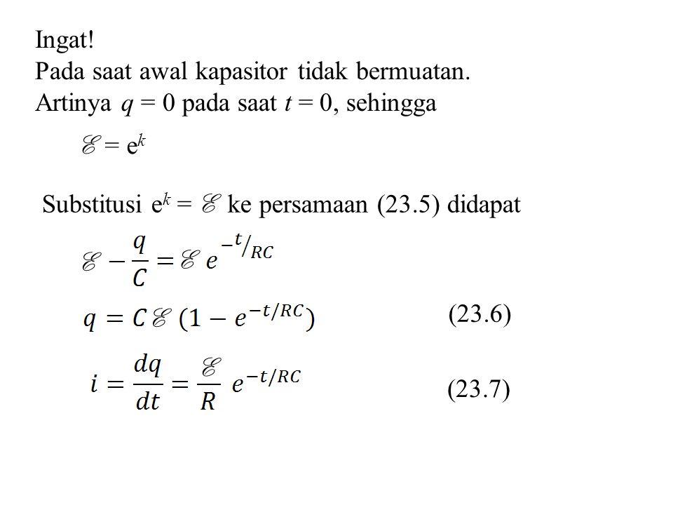 Ingat! Pada saat awal kapasitor tidak bermuatan. Artinya q = 0 pada saat t = 0, sehingga E = e k Substitusi e k = E ke persamaan (23.5) didapat E E E