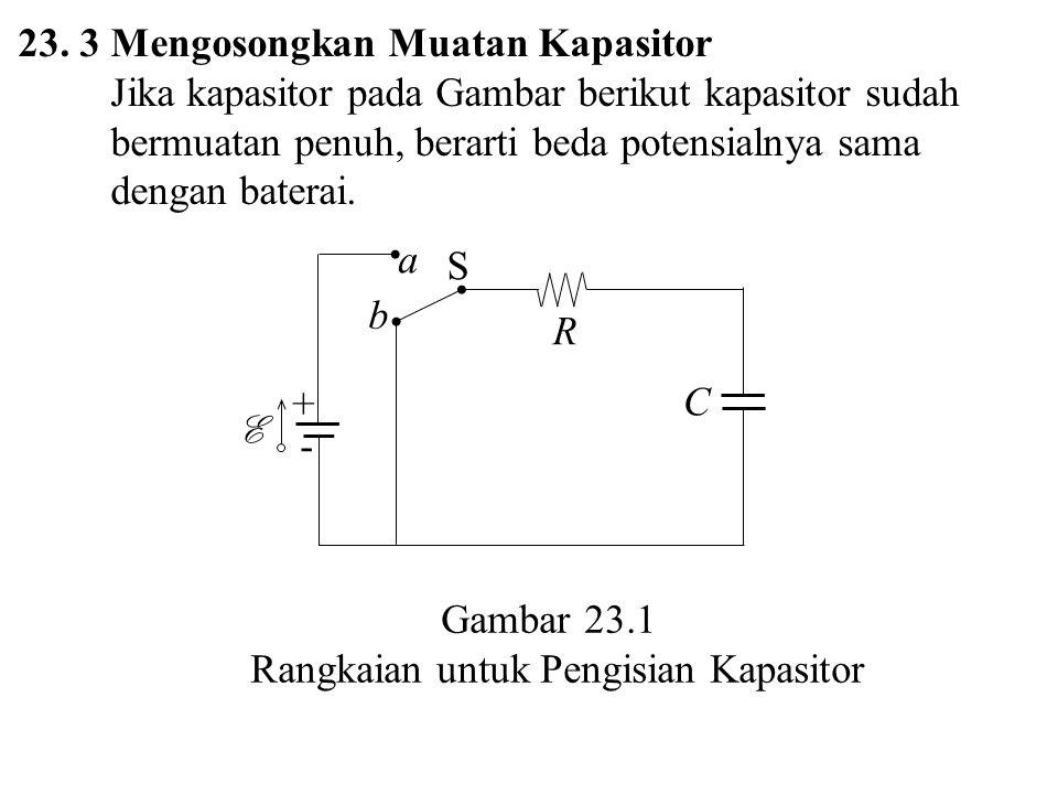 23. 3 Mengosongkan Muatan Kapasitor Jika kapasitor pada Gambar berikut kapasitor sudah bermuatan penuh, berarti beda potensialnya sama dengan baterai.