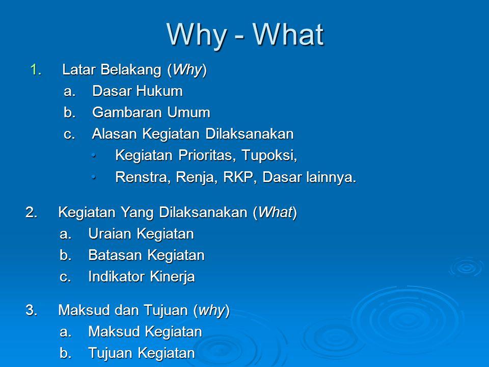Why - What 1.Latar Belakang (Why) a.Dasar Hukum b.Gambaran Umum c.Alasan Kegiatan Dilaksanakan Kegiatan Prioritas, Tupoksi,Kegiatan Prioritas, Tupoksi