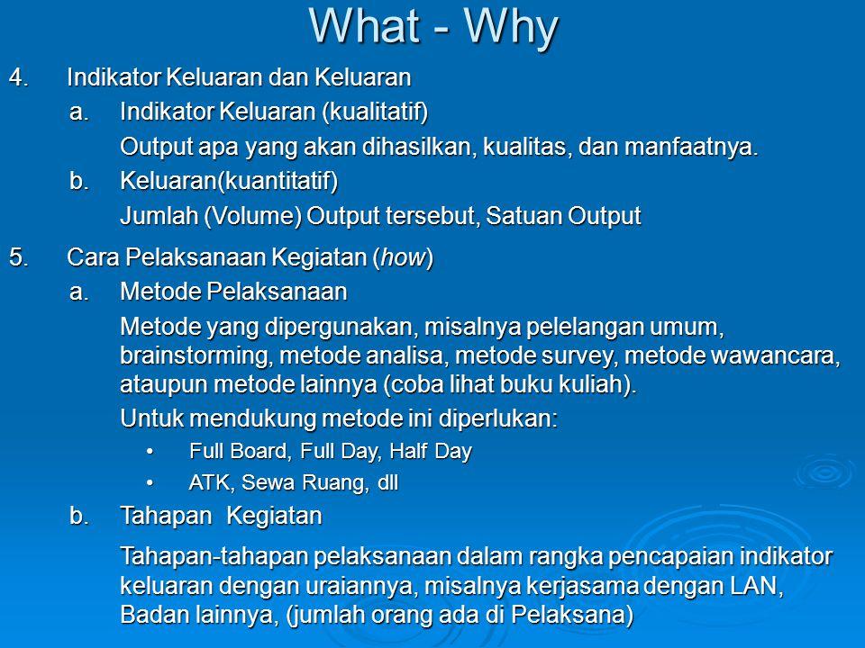 What - Why 4.Indikator Keluaran dan Keluaran a.Indikator Keluaran (kualitatif) Output apa yang akan dihasilkan, kualitas, dan manfaatnya. b.Keluaran(k