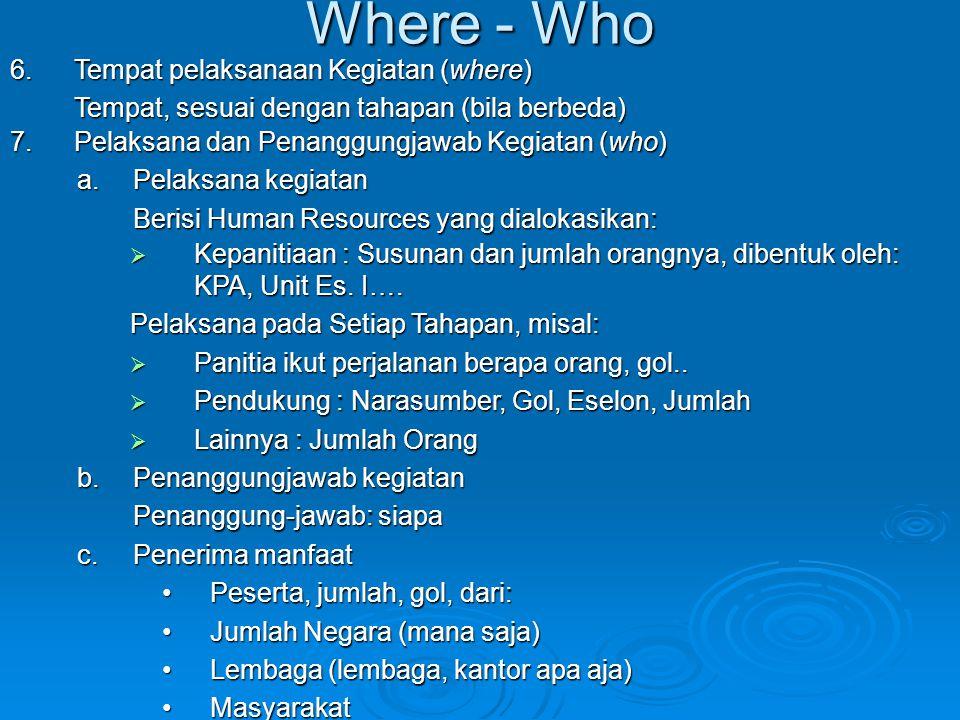 Where - Who 6.Tempat pelaksanaan Kegiatan (where) Tempat, sesuai dengan tahapan (bila berbeda) 7.Pelaksana dan Penanggungjawab Kegiatan (who) a.Pelaks