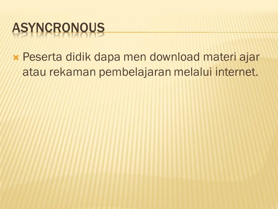  Peserta didik dapa men download materi ajar atau rekaman pembelajaran melalui internet.