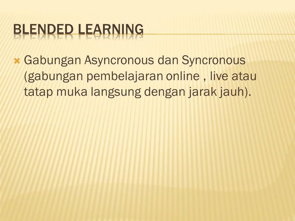  Gabungan Asyncronous dan Syncronous (gabungan pembelajaran online, live atau tatap muka langsung dengan jarak jauh).