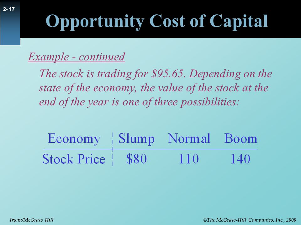 © The McGraw-Hill Companies, Inc., 2000 Irwin/McGraw Hill 2- 17 Opportunity Cost of Capital Example - continued The stock is trading for $95.65.