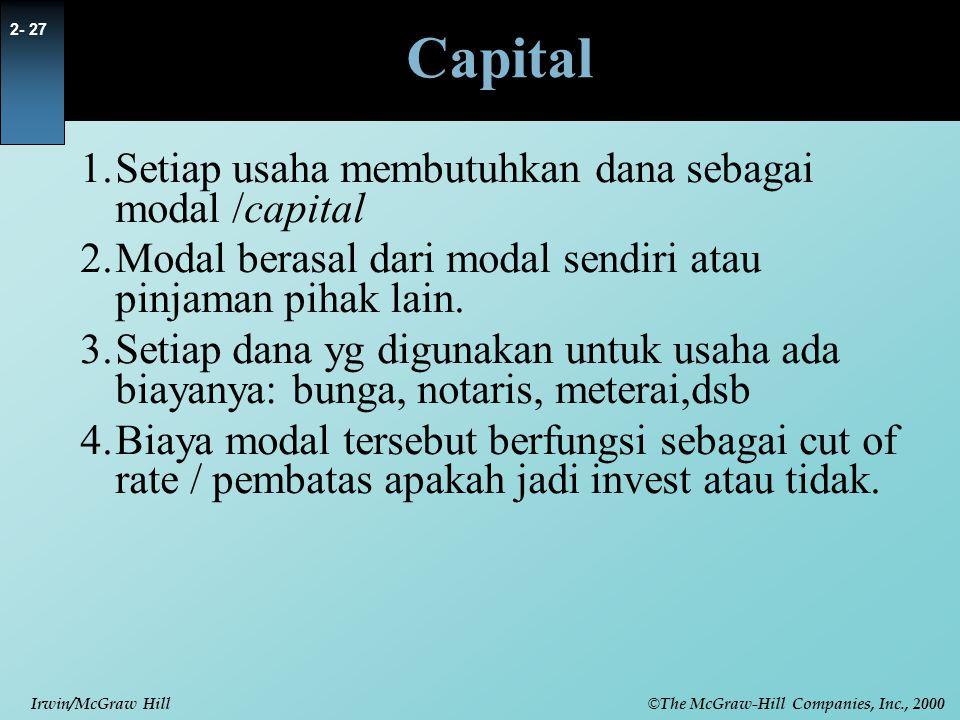 © The McGraw-Hill Companies, Inc., 2000 Irwin/McGraw Hill 2- 27 Capital 1.Setiap usaha membutuhkan dana sebagai modal /capital 2.Modal berasal dari modal sendiri atau pinjaman pihak lain.