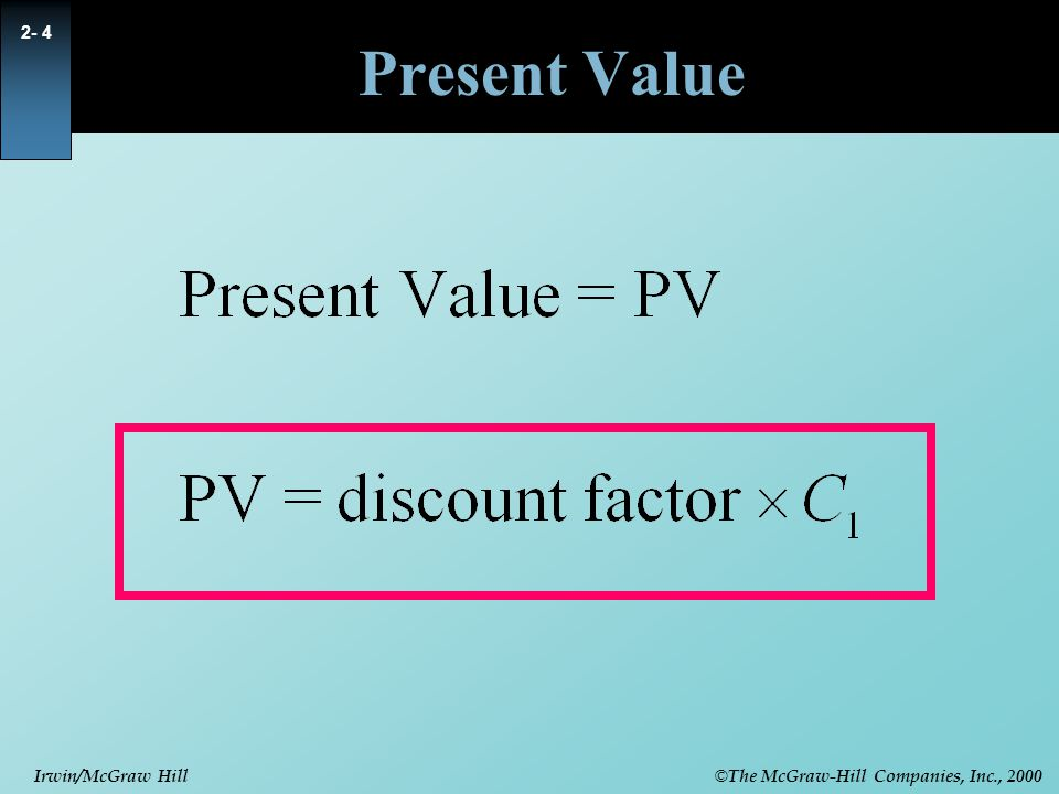 © The McGraw-Hill Companies, Inc., 2000 Irwin/McGraw Hill 2- 15 Net Present Value Rule  Accept investments that have positive net present value.