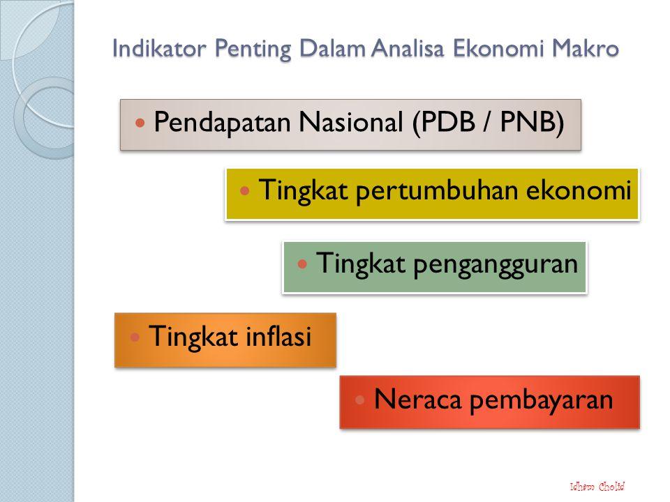 Indikator Penting Dalam Analisa Ekonomi Makro Pendapatan Nasional (PDB / PNB) Idham Cholid Neraca pembayaran Tingkat pertumbuhan ekonomi Tingkat pengangguran Tingkat inflasi
