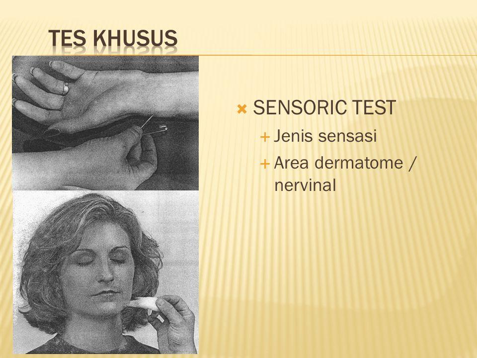  SENSORIC TEST  Jenis sensasi  Area dermatome / nervinal