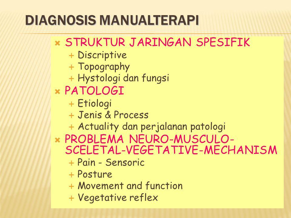 DIAGNOSIS MANUALTERAPI  STRUKTUR JARINGAN SPESIFIK  Discriptive  Topography  Hystologi dan fungsi  PATOLOGI  Etiologi  Jenis & Process  Actuality dan perjalanan patologi  PROBLEMA NEURO-MUSCULO- SCELETAL-VEGETATIVE-MECHANISM  Pain - Sensoric  Posture  Movement and function  Vegetative reflex