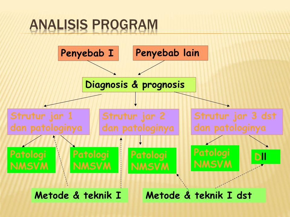 Diagnosis & prognosis Penyebab I Penyebab lain Strutur jar 1 dan patologinya Strutur jar 2 dan patologinya Strutur jar 3 dst dan patologinya Patologi NMSVM Dll Metode & teknik IMetode & teknik I dst