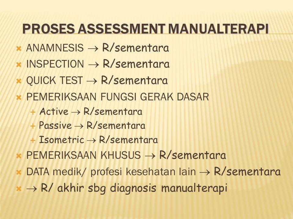 PROSES ASSESSMENT MANUALTERAPI  ANAMNESIS  R/sementara  INSPECTION  R/sementara  QUICK TEST  R/sementara  PEMERIKSAAN FUNGSI GERAK DASAR  Active  R/sementara  Passive  R/sementara  Isometric  R/sementara  PEMERIKSAAN KHUSUS  R/sementara  DATA medik/ profesi kesehatan lain  R/sementara   R/ akhir sbg diagnosis manualterapi