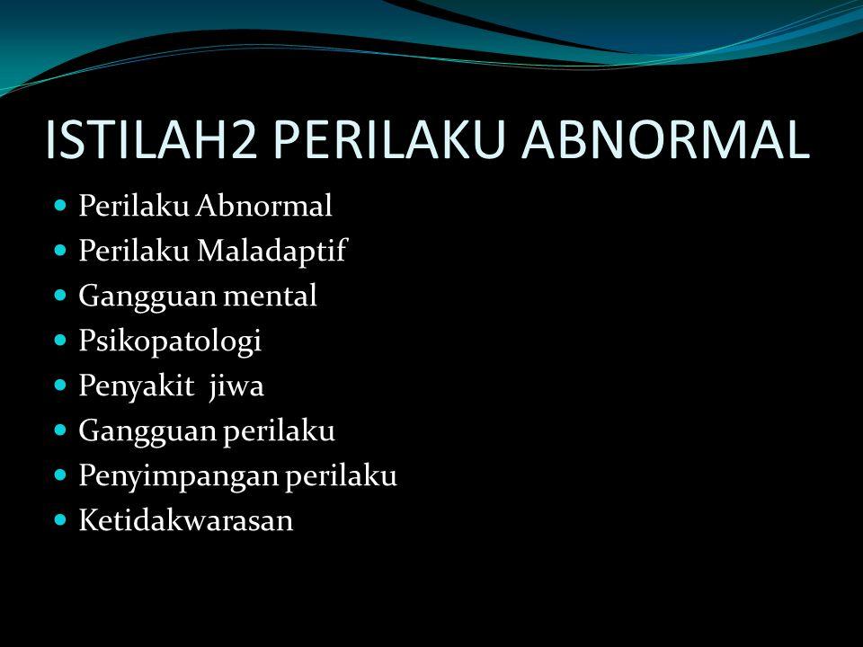 ISTILAH2 PERILAKU ABNORMAL Perilaku Abnormal Perilaku Maladaptif Gangguan mental Psikopatologi Penyakit jiwa Gangguan perilaku Penyimpangan perilaku K