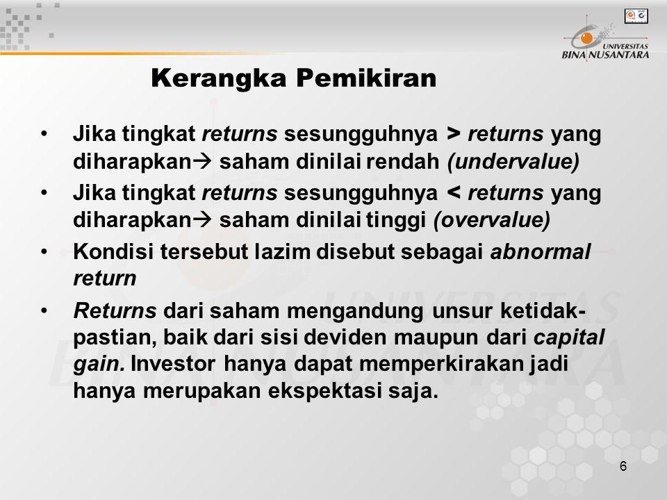 6 Kerangka Pemikiran Jika tingkat returns sesungguhnya > returns yang diharapkan  saham dinilai rendah (undervalue) Jika tingkat returns sesungguhnya < returns yang diharapkan  saham dinilai tinggi (overvalue) Kondisi tersebut lazim disebut sebagai abnormal return Returns dari saham mengandung unsur ketidak- pastian, baik dari sisi deviden maupun dari capital gain.