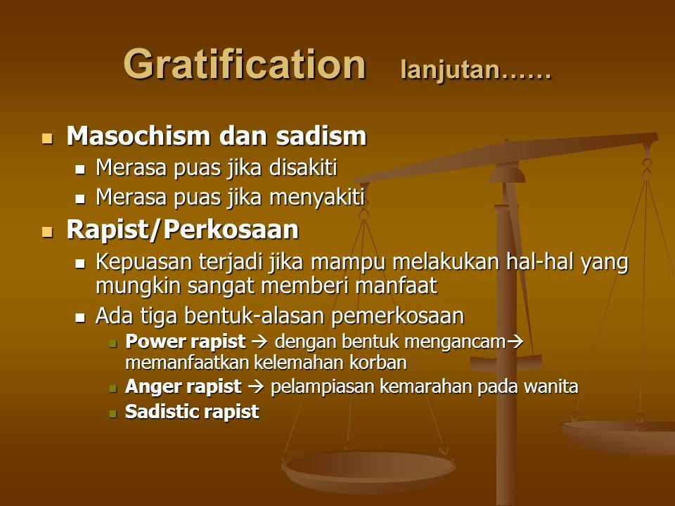 Gratification lanjutan…… Masochism dan sadism Masochism dan sadism Merasa puas jika disakiti Merasa puas jika disakiti Merasa puas jika menyakiti Mera