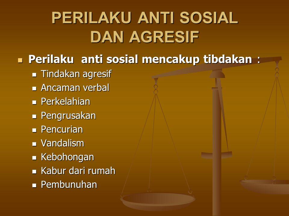 PERILAKU ANTI SOSIAL DAN AGRESIF Perilaku anti sosial mencakup tibdakan : Perilaku anti sosial mencakup tibdakan : Tindakan agresif Tindakan agresif A