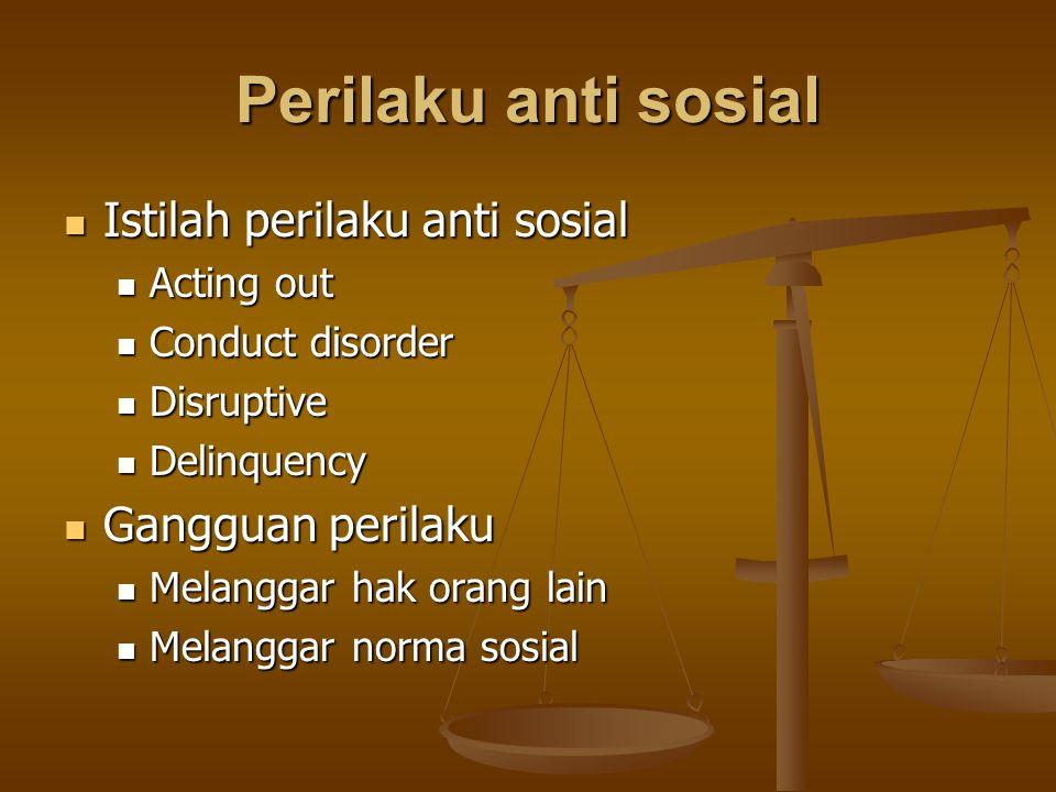 Perilaku anti sosial Istilah perilaku anti sosial Istilah perilaku anti sosial Acting out Acting out Conduct disorder Conduct disorder Disruptive Disr