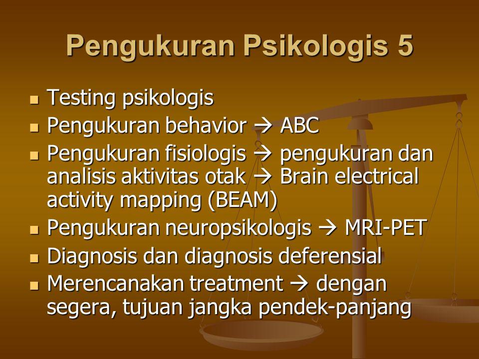 Pengukuran Psikologis 5 Testing psikologis Testing psikologis Pengukuran behavior  ABC Pengukuran behavior  ABC Pengukuran fisiologis  pengukuran d
