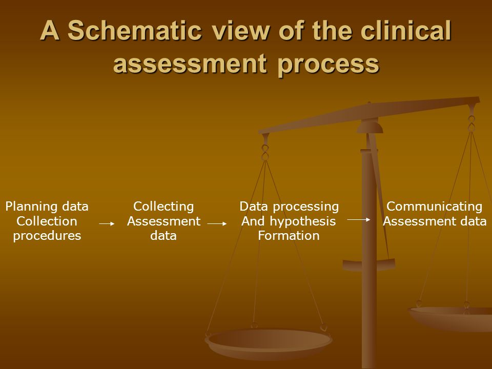 A Schematic view of the clinical assessment process Planning data Collection procedures Collecting Assessment data Data processing And hypothesis Form