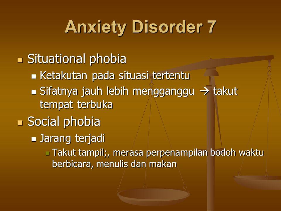 Anxiety Disorder 7 Situational phobia Situational phobia Ketakutan pada situasi tertentu Ketakutan pada situasi tertentu Sifatnya jauh lebih menggangg