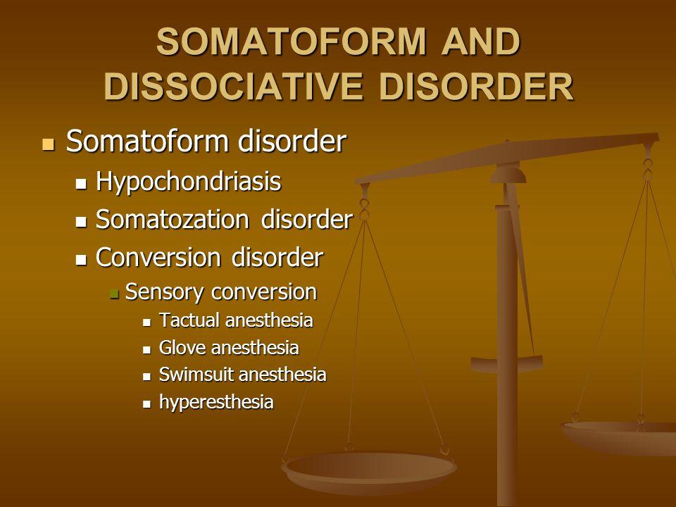 SOMATOFORM AND DISSOCIATIVE DISORDER Somatoform disorder Somatoform disorder Hypochondriasis Hypochondriasis Somatozation disorder Somatozation disord