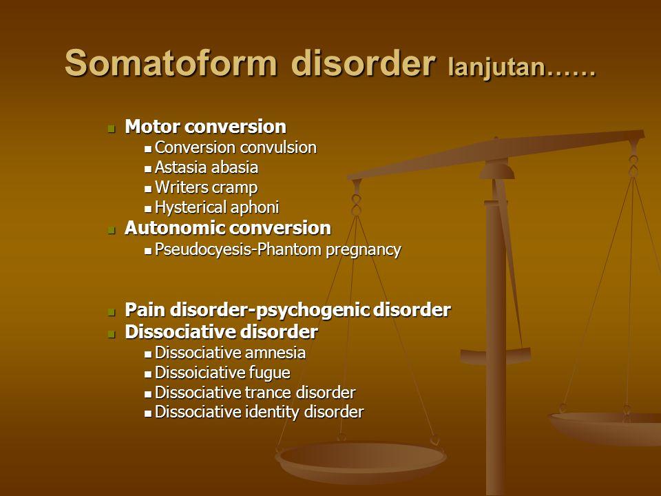 Somatoform disorder lanjutan…… Motor conversion Motor conversion Conversion convulsion Conversion convulsion Astasia abasia Astasia abasia Writers cra